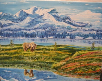 Wildlife Painting, Dan Leasure Oil, Alaska Bear in Meadow Snowy Mountains and River, Fathers Day Painting