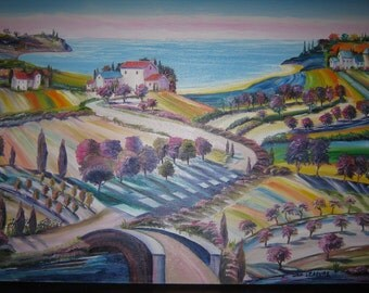 Tuscany Orchards By The Sea, Vineyard by the Sea, Colorful, Joyful Art, Home Portrait Art, Tuscany Estate, Dan Leasure Oil, 40 x 30 in.