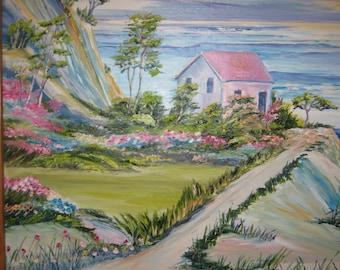 """Beach House, Oceanside House, Ocean Cottage, Dan Leasure Oil, 27.5 """"w x 23.5 """" h, Framed"""