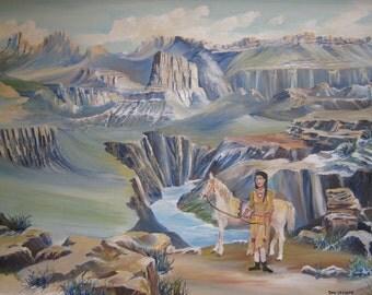 Grand Canyon, Landscape Desert, Arizona Oil, Indian Girl White Horse Lavender Blue Tan, Framed 27x25, Original Oil, Framed, Dan Leasure