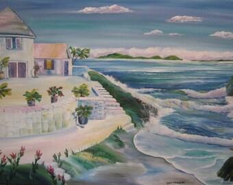 Seaside Palace, Ocean Painting, Mediterranean Sea, Healing Art, Peaceful Place, Palace Painting, Dan Leasure Oil, 25 x 36 in, White Frame