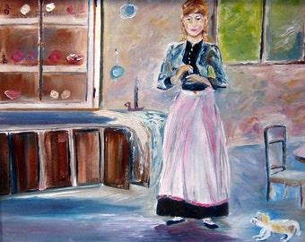 In The Dining Room, Romance Art, Berthe Morisot Reproduction Oil, Dan Leasure Oil, 20 x 20 in. Framed