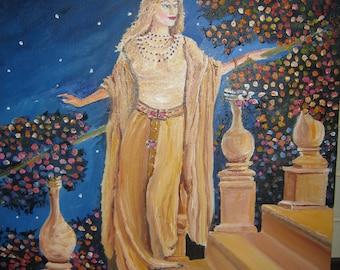 Starry Starry Starry Night, Romance, Goddess Woman, Valentine Night, Dan Leasure Oil, Framed 17 x 21 inches