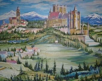"""Castle Oil Painting, Landscape Fantasy,  Medieval, 40""""w x 26""""h, Dan Leasure Oil"""