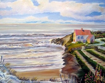 Ocean Home, Pacific Northwest Art, Farmhouse by the Sea, Garden by The Sea, Oceanside Home, 36 x 25 Dan Leasure Original Oil