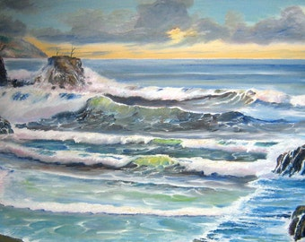 Refreshing Waves, Ocean Art, Sunset on The Beach, Dan Leasure Original Oil 36 x 19 in.