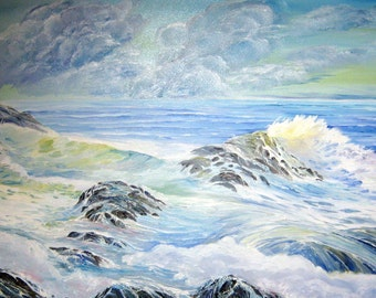 Ocean Blue, Ocean Painting,Blue White Waves Storm Clouds, Dan Leasure Original Oil, 41x22 in, Hickory Frame