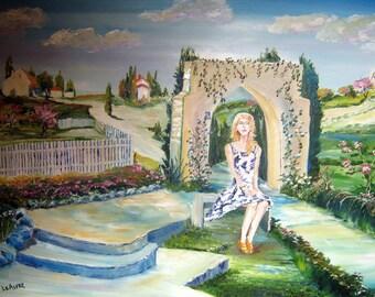 Singing Star At Her Garden Gate, Romantic Art Painting, Sweet Young Girl, Dan Leasure Oil, 25 x 36 in. Framed