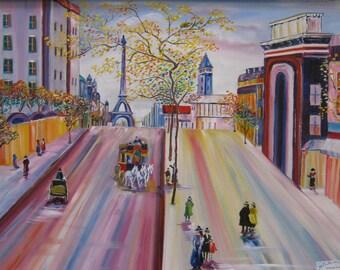 Ken Kesey Carriage Ride Through Paris, Paris Oil Painting, Original Paris Oil, Around The World Art, 24x30 in. Painting, Framed