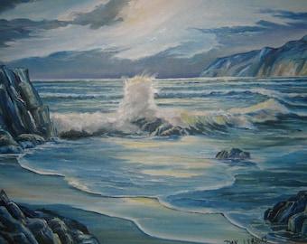 Pacific Splendor, Ocean Art, Moonlit Blue Night, Majestic Ocean, Mysterious Ocean Cove, Framed 36 x 24 in. Dan Leasure Oil