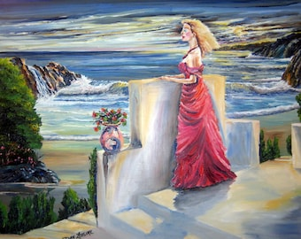 Dreaming of You, Lady in Red Oil Painting, Romance Night, Wistful Lady in Red, 27 x 21, Dan Leasure