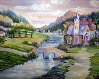 Church in The Valley, Landscape Oil, Riverside Village, Peace in The Valley, Dan Leasure