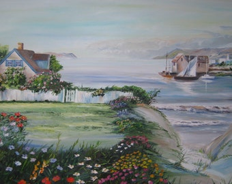 Puget Sound Fishing Village, Home Portrait Oil, Pacific Northwest Oil, Dan Leasure Oil