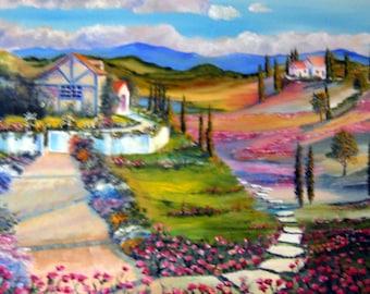 "Tuscany Flower Dream, Romance Art, Rainbow Landscape, 34 x 24"" Dan Leasure Oil"
