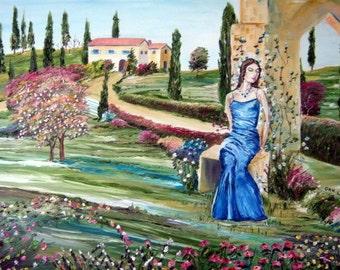Lady in Blue - Italian Country Home, Romantic Art Oil, Dan Leasure Oil, 26 x 25 in. Framed