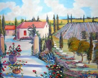 Lavender Hill Home, Home Portrait Art, Tuscany,Dan Leasure Oil, 35 x 24 in.