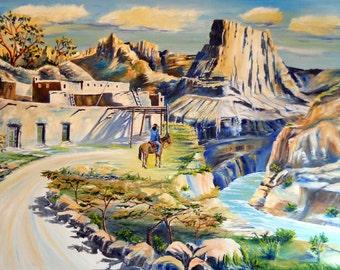 Arizona Blue, Landscape, Desert Canyons, Arizona, Mexico Original Oil,Pueblos 35 x 24 Dan Leasure Original Oil
