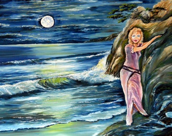 Moonlight Decision. Romance Art, Girl Hanging on Cliff, Twilight Ocean Girl, 35 x 25 in. Dan Leasure Oil