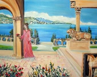 Ancona Italy Princess,Princess of The Sea,  Romance Art Oil,  Sirolo, Ancient Picene Center, Dan Leasure Original Oil, 35 x 23