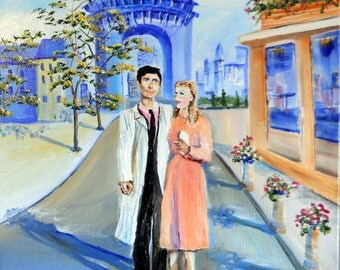 Kathleen In Paris, Romantic Art, The Louvre, Couple walking, Paris Streets, Romantic, Dan Leasure OriginalOil, 16 x 20 inches