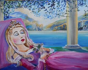 Sleeping Beauty Art, Sleeping Beauty Oil, Sleeping Beauty Dreams,  Romantic Art, Dan Leasure Oil