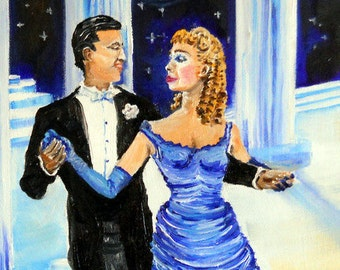 Tango Blue at The Starlight Ballroom, San Francisco Art, Romance Art, Dan Leasure Oil 12 x 16 in.