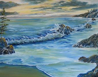 Oregon Pacific, Ocean Sunset Oil, Original Painting, Night Ocean, Sea Serenity, Romance Oil, Pacific Northwest Ocean,  Dan Leasure Oil