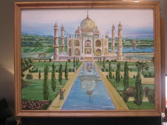 The Taj Mahal, Around The World Art, Wonder of The World, Taj Mahal, Dan Leasure Oil, 36 x 28in. framed