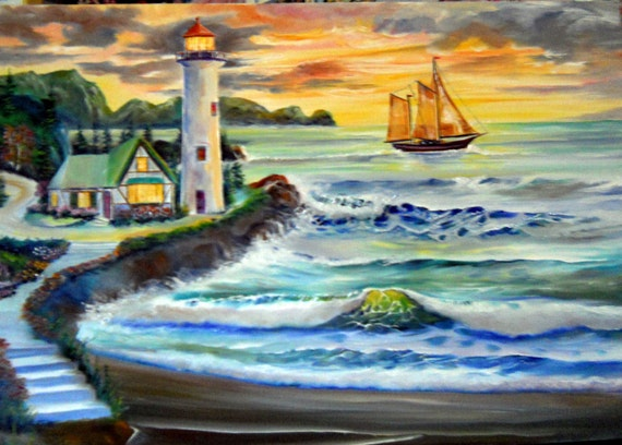Oregon Lighthouse, Lighthouse Keepers House, Ocean Lighthouse, Sunset Oil, Dan Leasure Oil