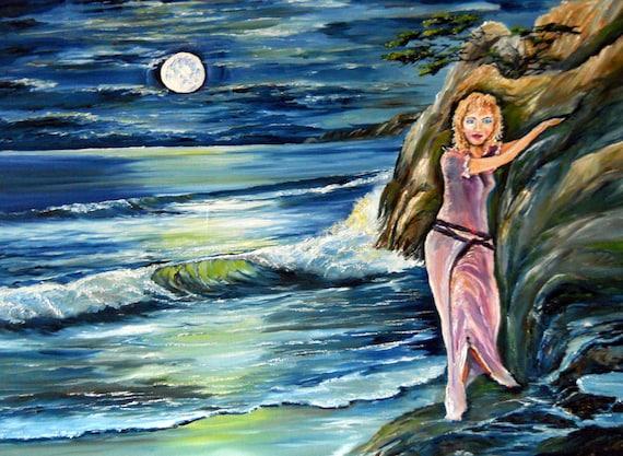 Moonlight Decision. Romance Art, Girl Hanging on Cliff, Twilight Ocean Girl, 35 x 25 in. Dan Leasure Oil