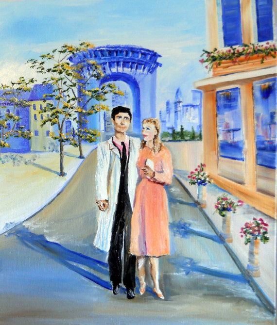 Kathleen In Paris, Romantic Art, The Louvre, Couple walking, Paris Streets, Romantic, Dan Leasure OriginalOil, 16 x 20 inches