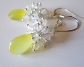 Sale - Sunshine Yellow Chalcedony Cluster  Moonstone Earrings