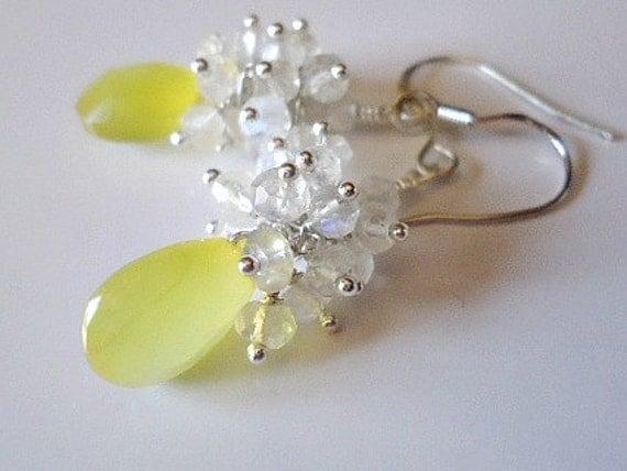 Sale - Sunshine Yellow Chalcedony Cluster  Moonstone Earrings