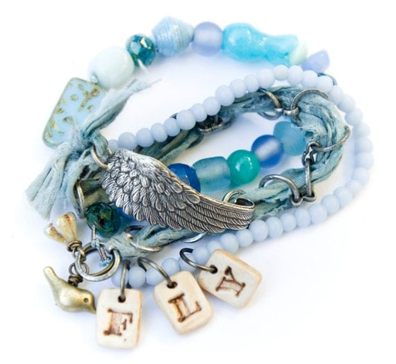 Pale blue and Sea foam green FLY Bohemian Beaded Wing Multi strand and Charm Bracelet