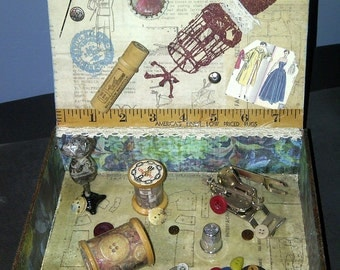 Altered Vintage Sewing Cigar Box
