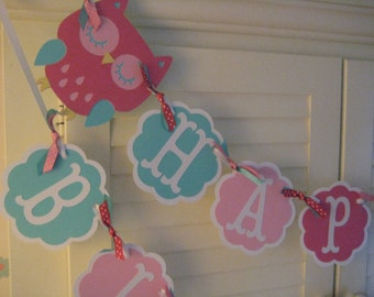 Owl Birthday Banner/ Garland/ Turquoise/ Pink/ Age/ Name/ Party Decorations/ 1st Birthday