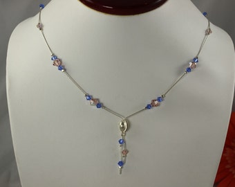 SALE Blue and Pink Crystal Necklace