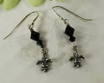 SALE Fleur de lis Earrings, Black Crystal Earrings