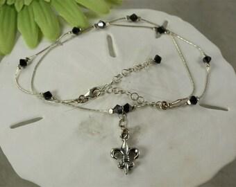 SALE Fleur de lis Necklace, Black Crystal Necklace