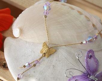 SALE Butterfly Necklace, Violet Butterfly Necklace, Crystal Butterfly Necklace, Gold Necklace