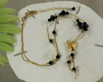 SALE Butterfly Necklace, Black Butterfly Necklace, Crystal Butterfly Necklace, Gold Necklace