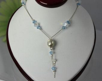 SALE Signature Delicate Swarovski Aquamarine n Opal Necklace