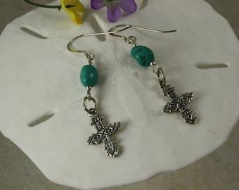 SALE Turquoise Earrings, Sterling Silver Earrings, Cross Earrings