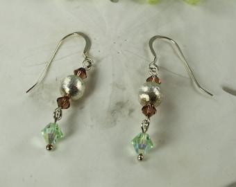 SALE Green and Brown Earrings, Swarovski Crystal Earrings, Sterling Silver Earrings