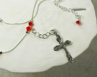 SALE Cross Necklace, Silver Cross, Fire Opal AB