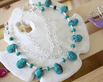 SALE Turquoise Necklace, Delight Sterling Silver Necklace