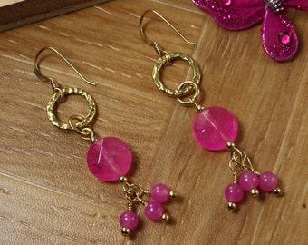 SALE Hot Pink Earrings, Jade Earrings, Gold Earrings