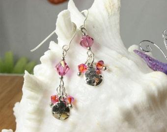 SALE Sand Dollar Earrings, Pink Earrings, Sterling Silver Earrings