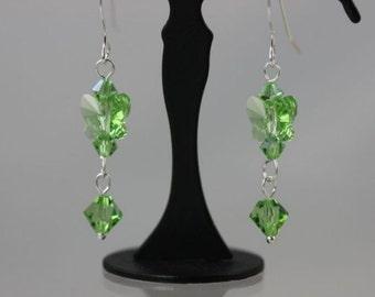 SALE Butterfly Earrings, Peridot Crystal Earrings, Sterling Silver Earrings, August Birthstone