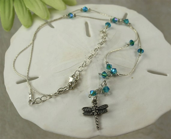 SALE Dragonfly Necklace Crystal Sterling Silver Necklace